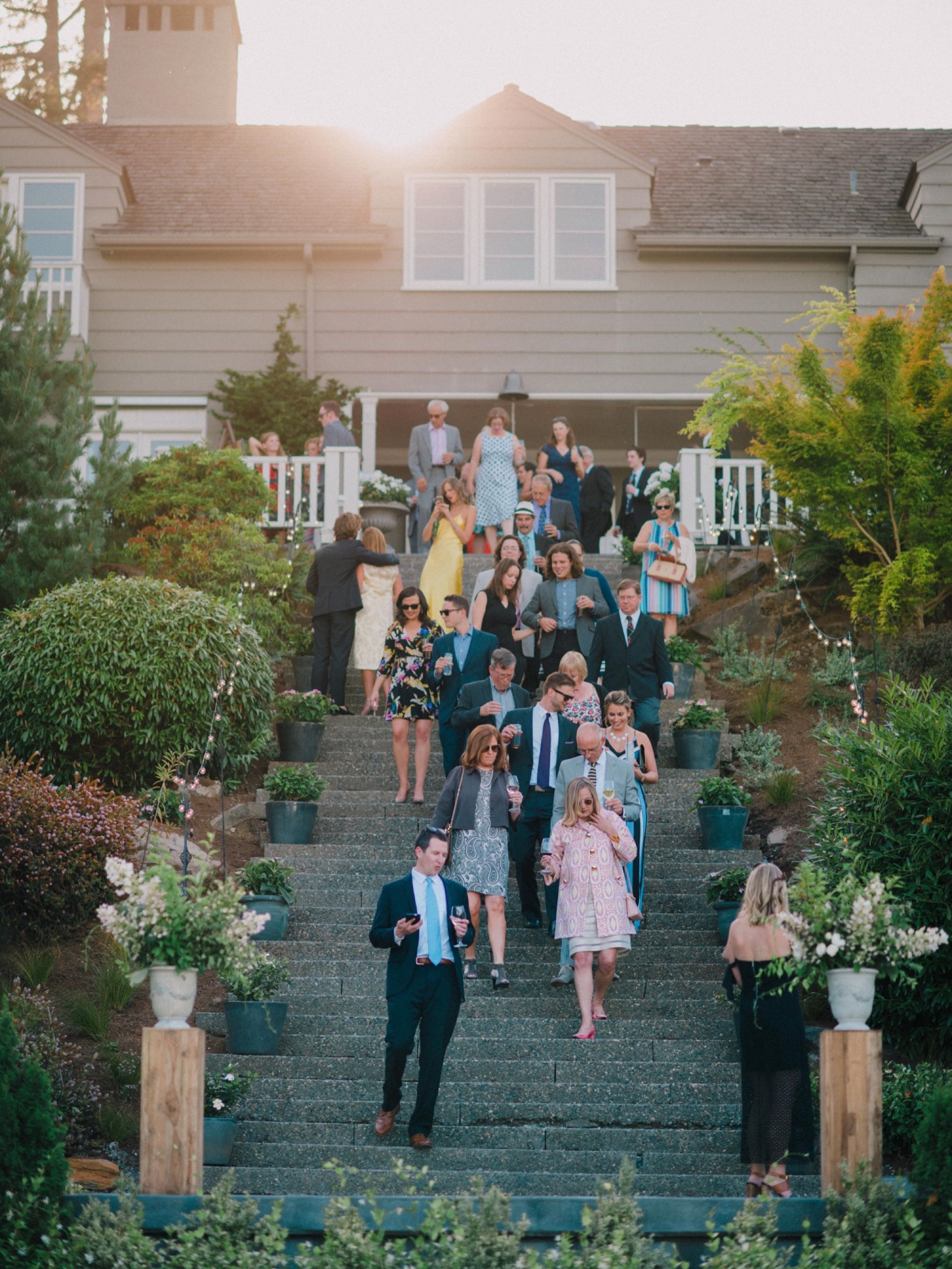 Guests entering a wedding reception in Seattle