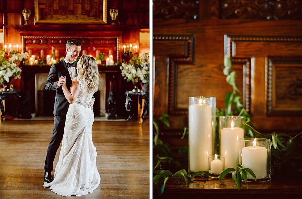 Reception Details from Seattle Wedding Florist Botanique at Thornewood Castle