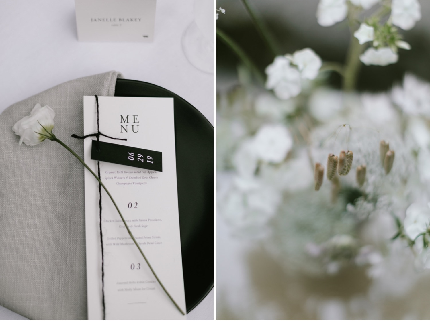Modern black and white details at a JM Cellars wedding in Woodenville from Botanique Flowers Seattle