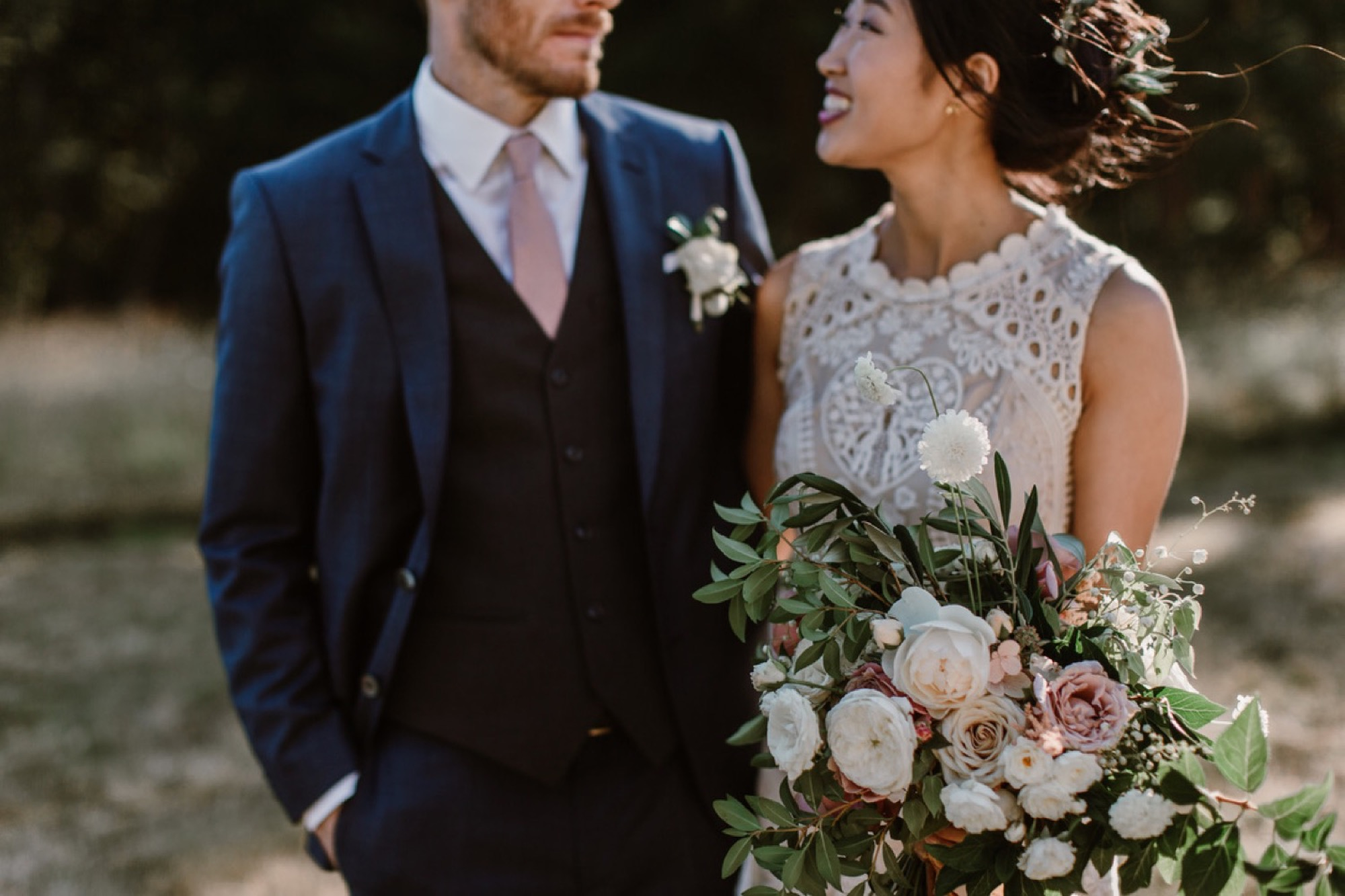 Bride and Groom at their Pebble Cove Farm wedding with Seattle Wedding Florist Botanique