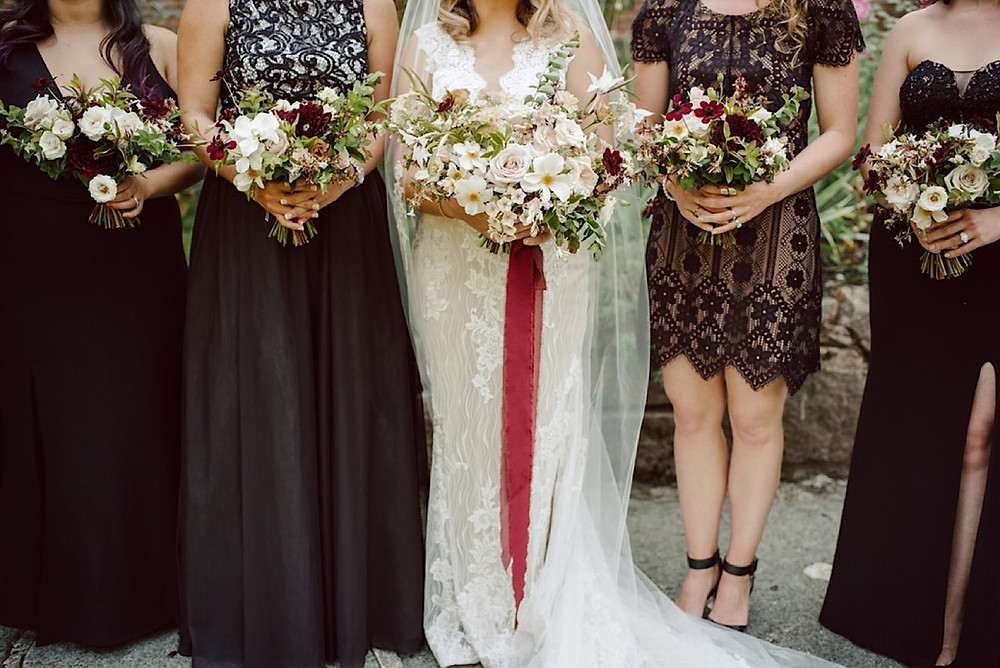Bride and bridesmaids with bouquets from Seattle Wedding Florist Botanique