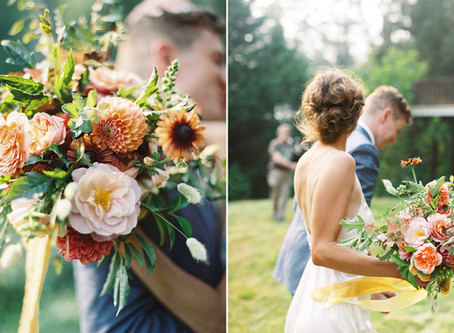 COLORFUL, SUMMER BRIDAL BOUQUET FROM AN INTIMATE, BACKYARD, BAINBRIDGE ISLAND WEDDING