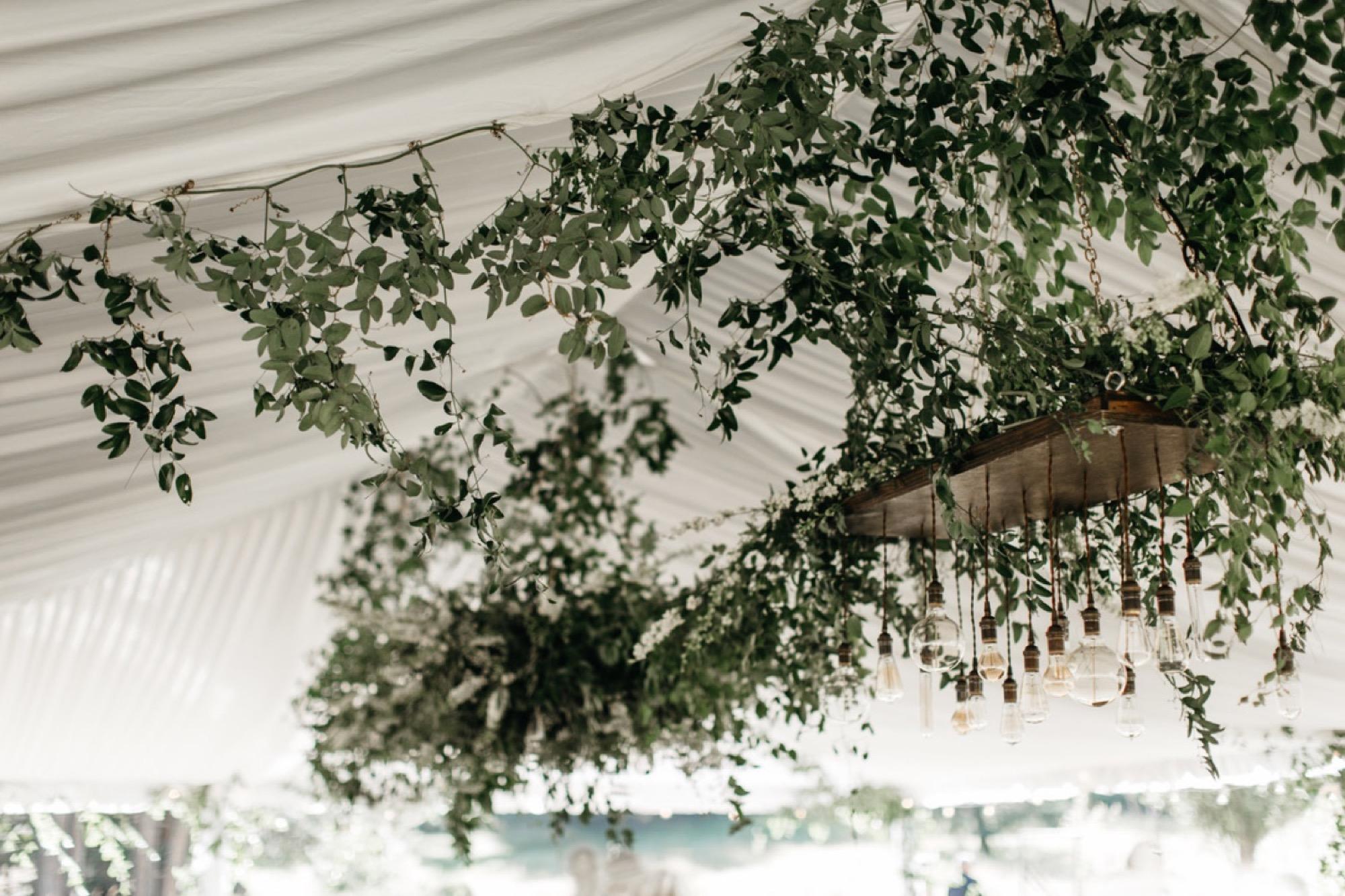 Lush greenery wedding reception decor on Orcas Island by Seattle Wedding Florist Botaniqu