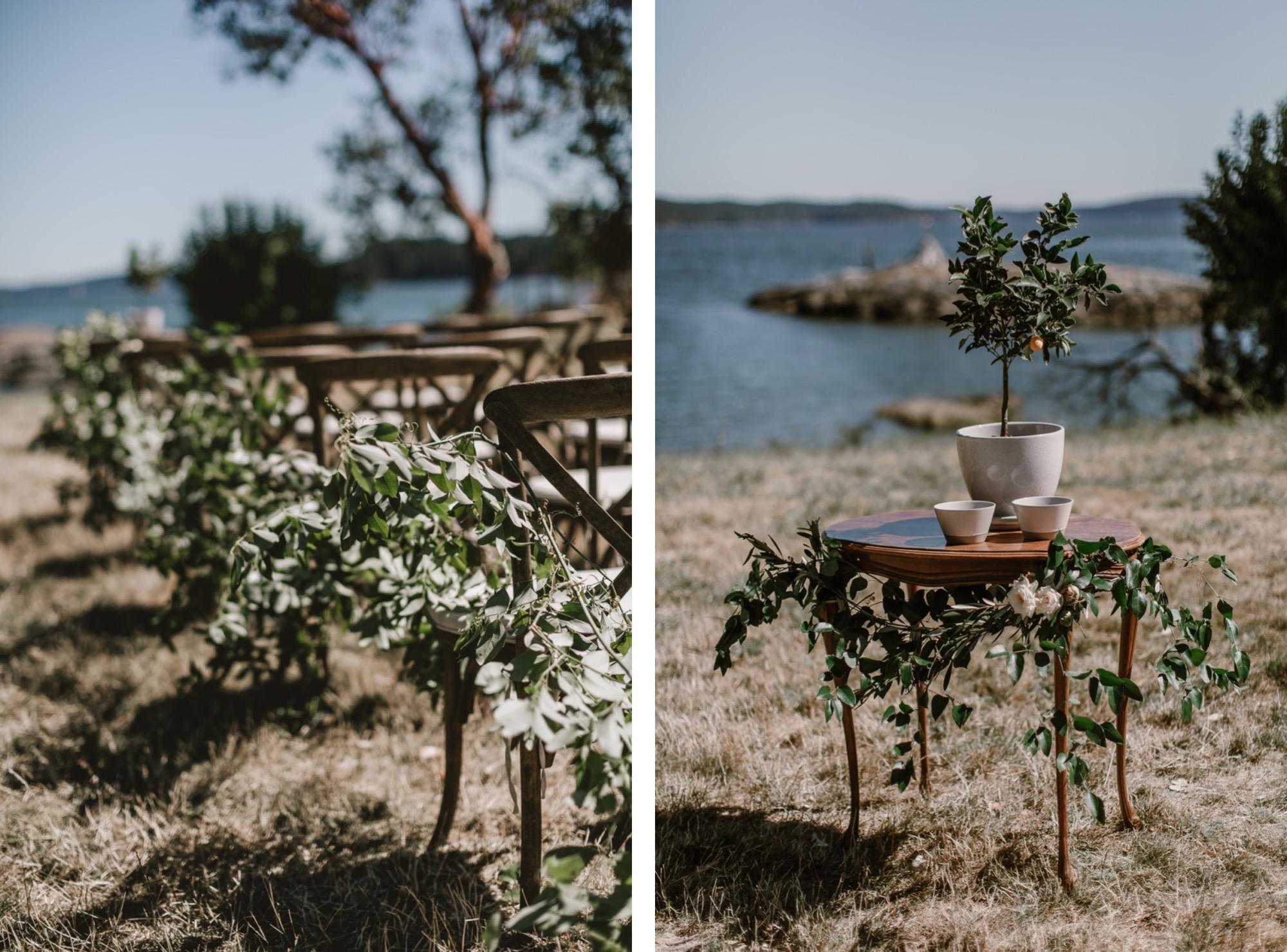 Lush greenery wedding ceremony decor on Orcas Island by Seattle Wedding Florist Botaniqu