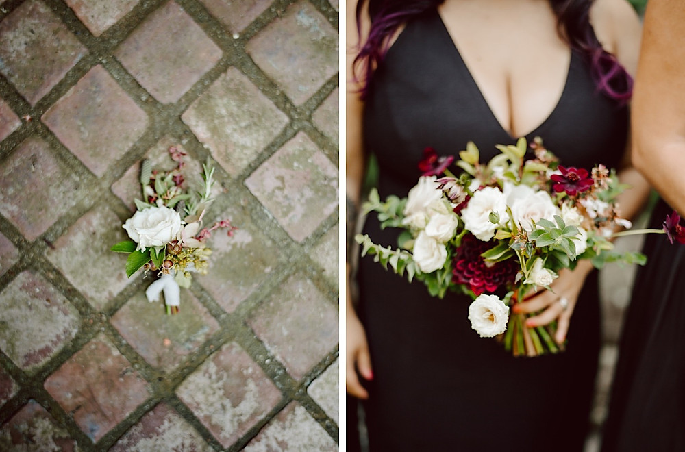 Elegant wedding floral design with cream, dusty rose, and burgundy tones