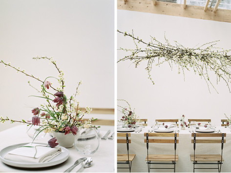 Minimal, Elegant, Plum-Toned Spring Wedding Inspiration with Fritillaries and Blooming Branches