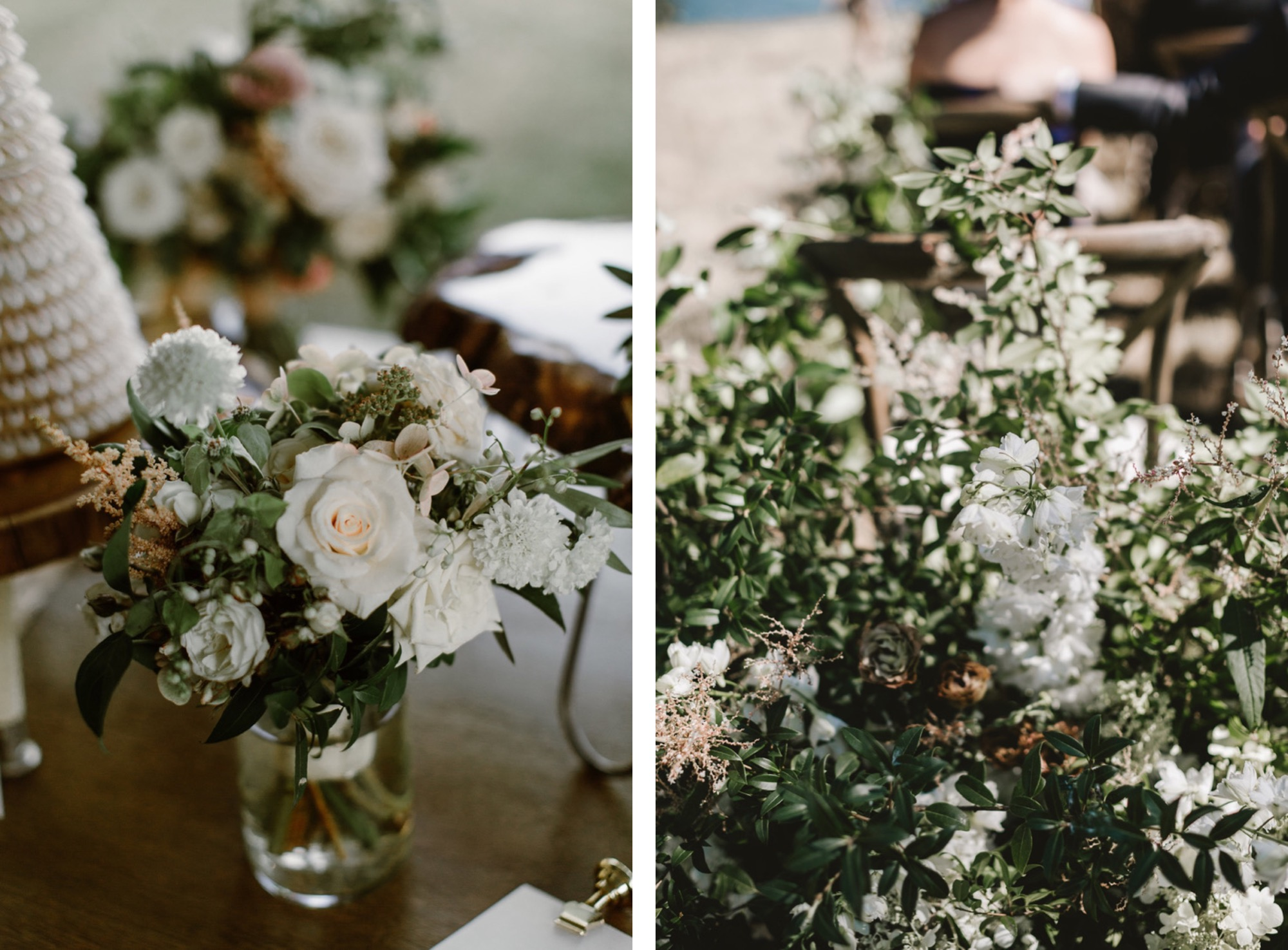 Organic green and white floral design at Pebble Cove Farm