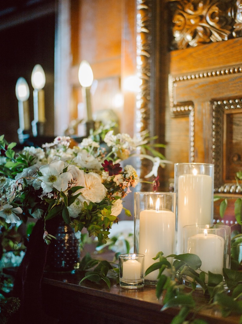 Romantic wedding reception details at Thornewood Castle