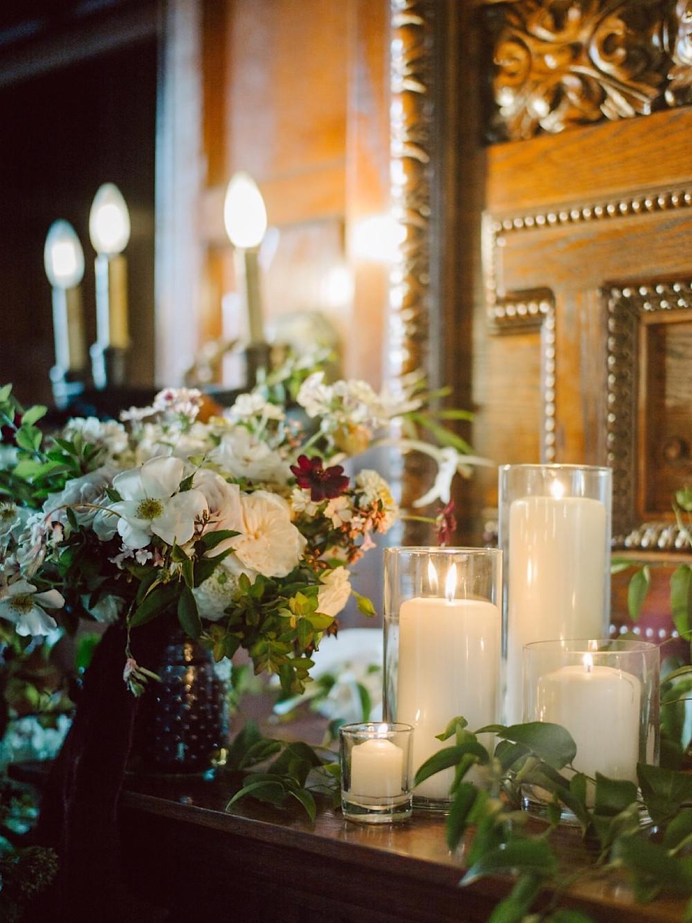 Romantic wedding reception details at Thornewood Castle