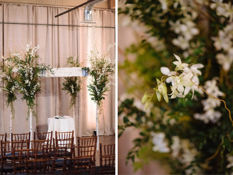 A Classic and Elegant Jewish Wedding at The Foundry, with White and Green Florals and Candlelight