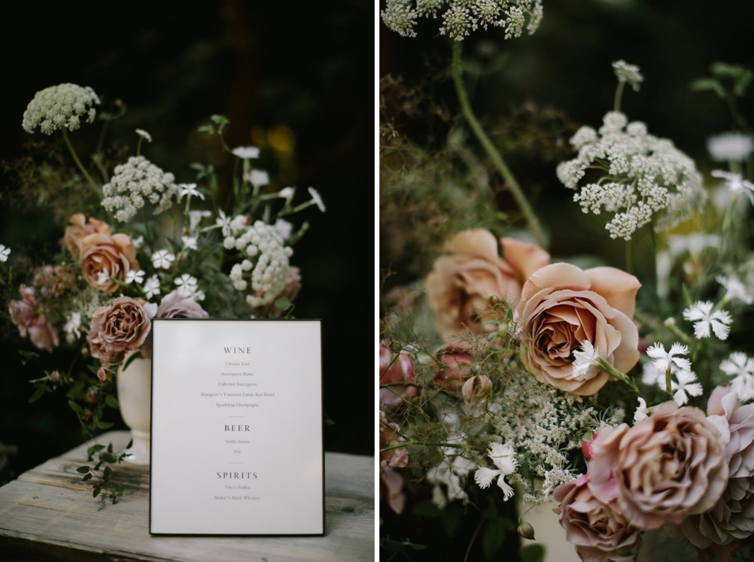 Modern wedding details with garden roses at Woodinville's JM Cellars