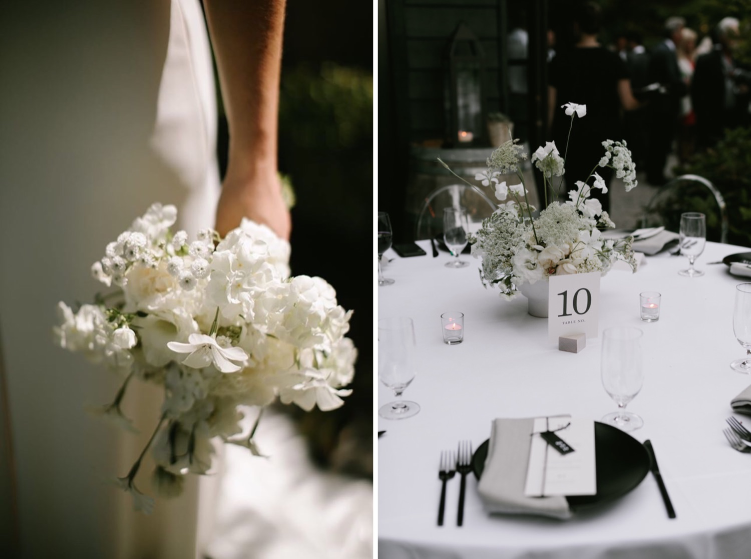 Modern black and white details at a JM Cellars wedding in Woodinville from Botanique Flowers Seattle