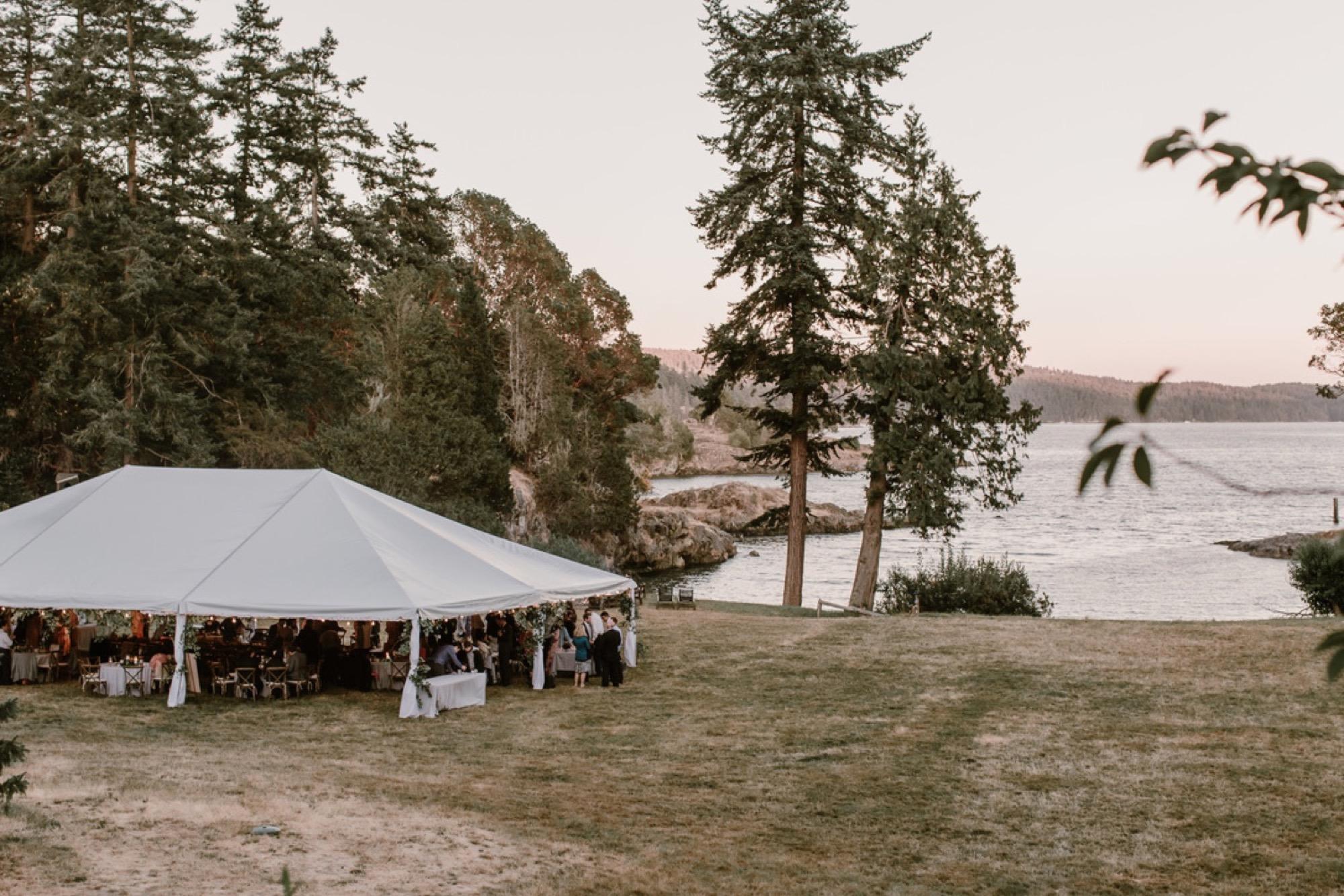 An outdoor wedding reception on Orcas Island