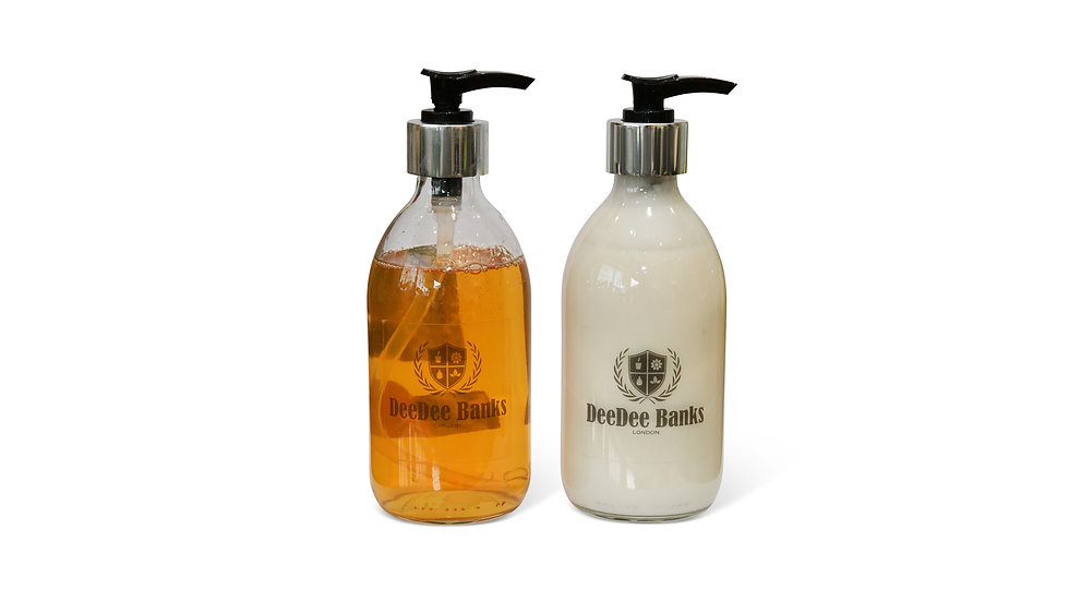 TUSCAN LEATHER & THYME HANDWASH/BODY LOTION (300ml Clear Glass)