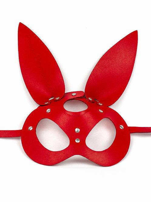 Кожаная маска зайки (Bunny Red) красная
