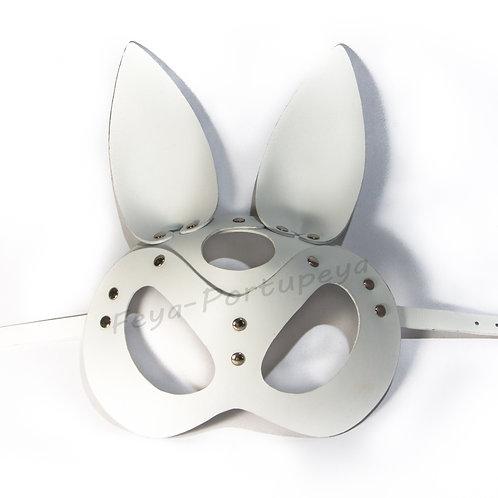 Кожаная маска зайки (Bunny White) белая