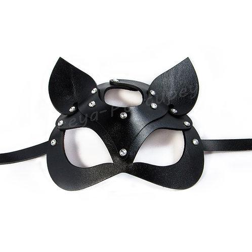 """Кожаная маска кошки """"Diamond"""" (со стразами)"""