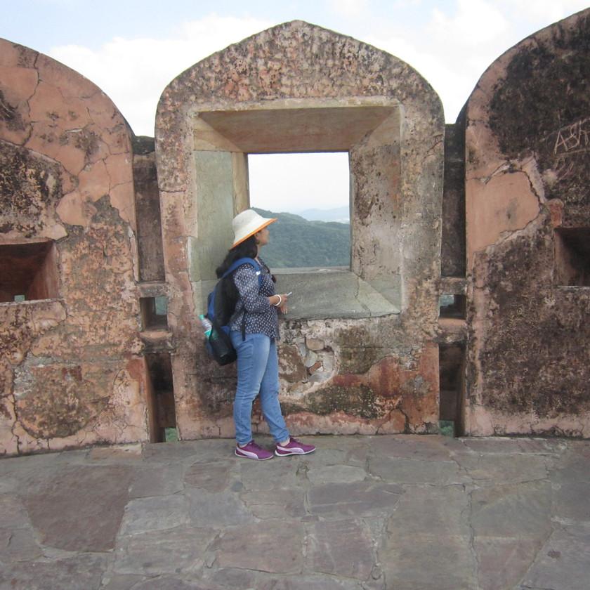 Admiring the Aravalli hills view from Jaigarh fort