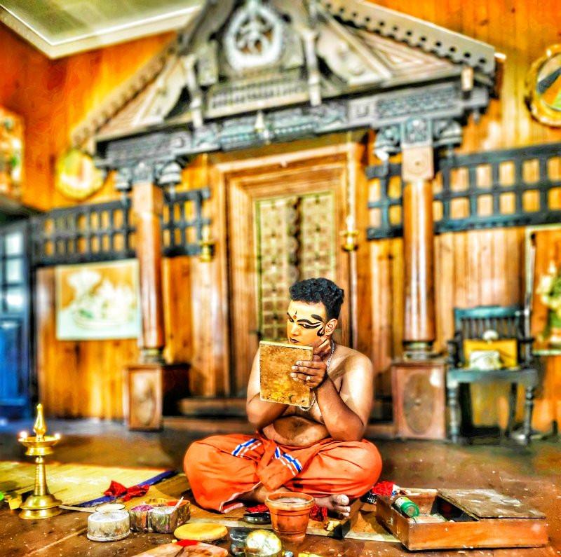 Preparation before Kathakali Performance, Kerala