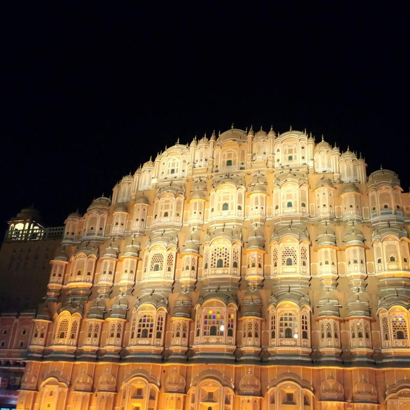 Hawa Mahal lit at Night