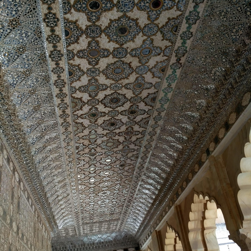 Glass Art on the ceiling of Sheesh Mahal, Amer Fort