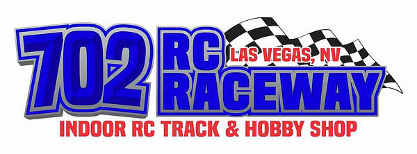 702 rc raceway elongated logo on white l