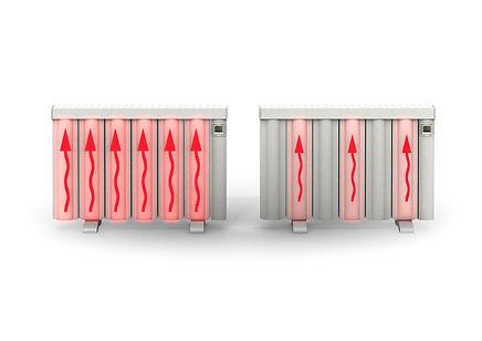 Carpion Hybrid Heiz-Module geben ihre, um ein vielfaches länger speicherbare Energie, langfristig ab schalten bei Bedarf Röhrenweise zu und verbrauchen dadurch viel weniger Energie.