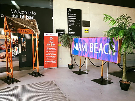 Seaside themed event entrances for caribbean themed events.