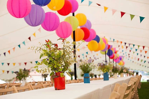 Colourful summer buntings for garden parties.