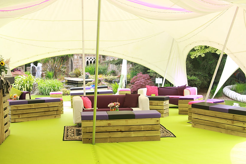 Pallet Furniture for Private Marquee Summer Festival London UK