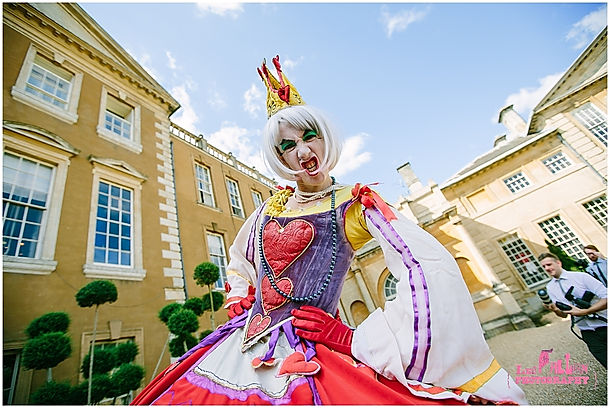 Queen of hearts character for hire for Alice in wonderland parties near London