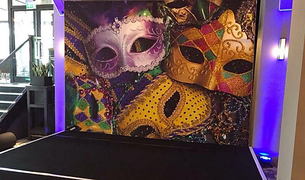 Themed staging and backdrops for hire. Rent masked ball backdrops for your parties, conferences and events.