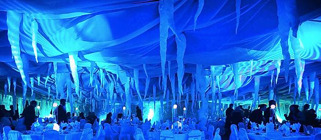 Winter wonderland venue transformation.
