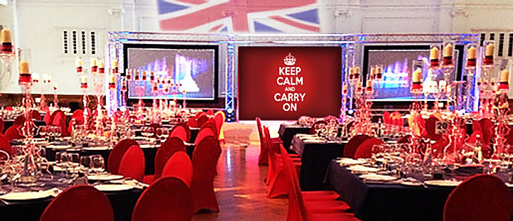 British themed room dressing and union jack poi projections for hire near London.