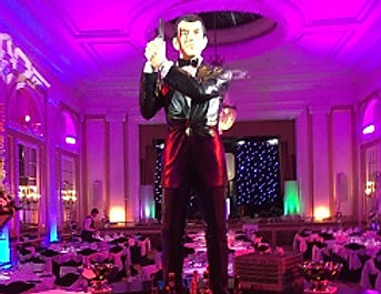 Secret agent theme for gala dinners and conference events.