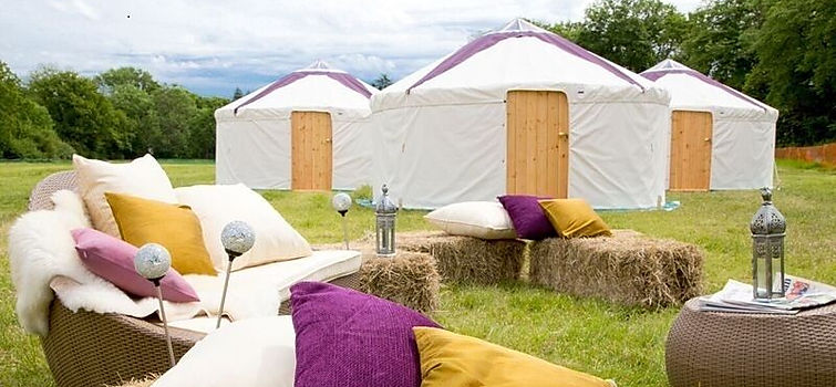 rustic outdoor seating and canvas tents for hire in London.