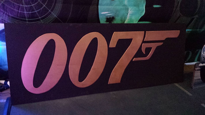 007 sign for hire for events and theme parties.