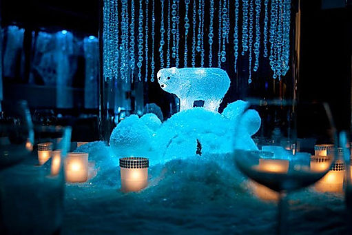 Winter wonderland table centrepieces for hire for Christmas events.