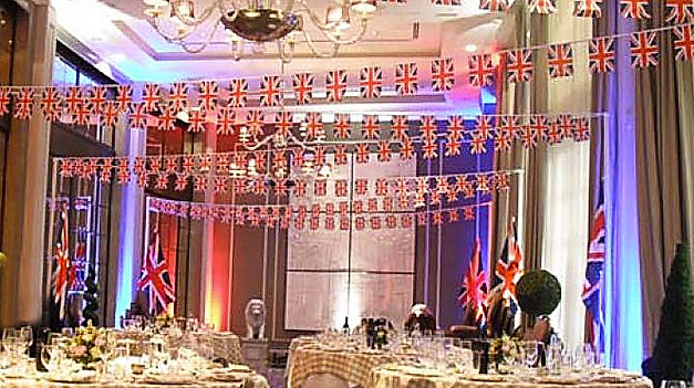 Union jack flags and buntings for hire for venues.
