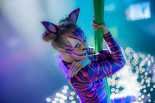 Alice in wonderland aerial performer for hire. Hire Alice in wonderland and Cheshire cat themed entertainment for parties and corporate events.