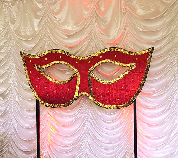 Large Venician mask props for hire for parties and events. Hire full themed event productions with props, decorations, lighting and more.