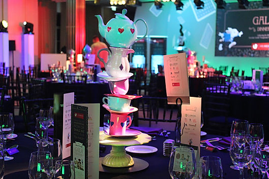 Tea cup style table centerpieces for themed gala dinners and events