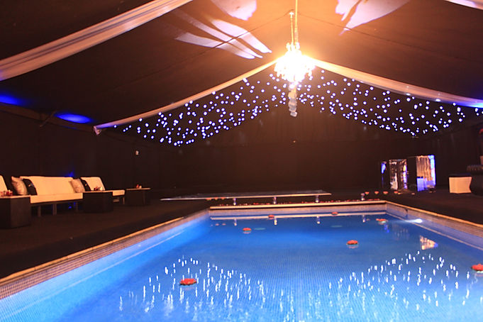 Marquee Around a Swimming Pool for Luxury Private Events London UK