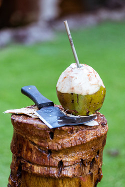Chopping coconuts