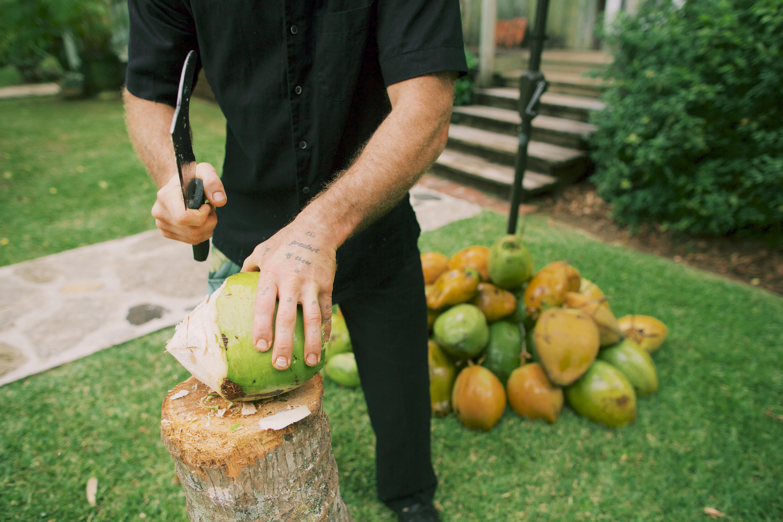Fresh coconuts at a wedding