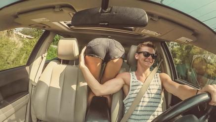 Butt inside car