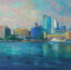 The city from the Thames 60x60 cm oil on