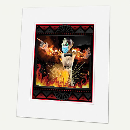 """Covid"" (2020 Zozobra) Signed matted Giclée Print"