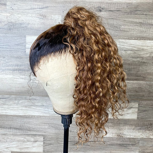 Natural Curly Brown Highlights HD Full Lace Wig