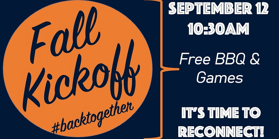 Kickoff Sunday:  Registration for Worship Gathering & BBQ: September 12 @ 10:30am